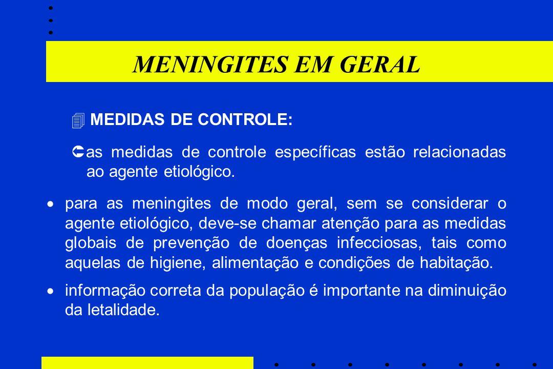 MENINGITES EM GERAL  MEDIDAS DE CONTROLE: