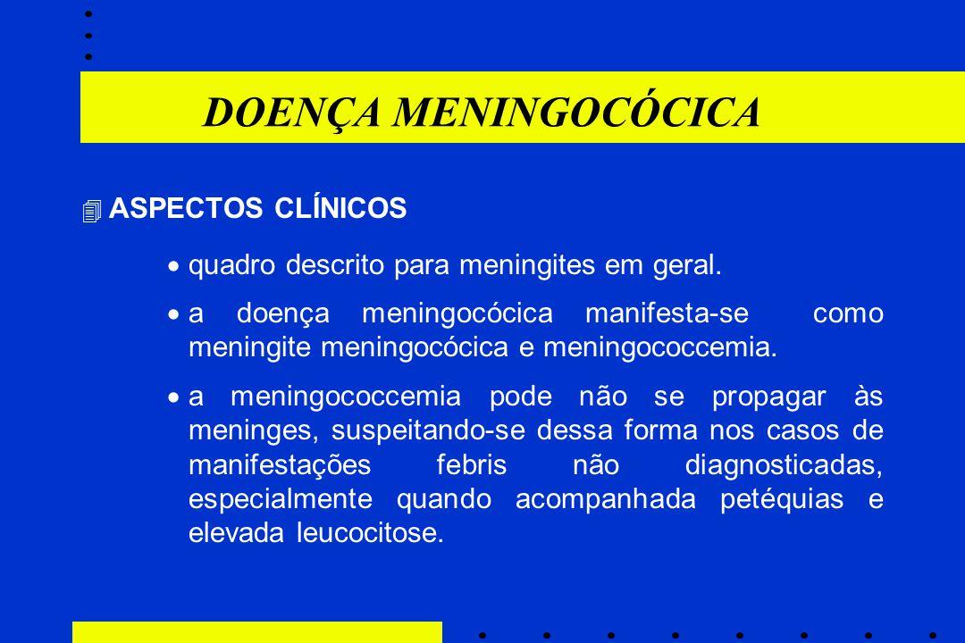 DOENÇA MENINGOCÓCICA quadro descrito para meningites em geral.