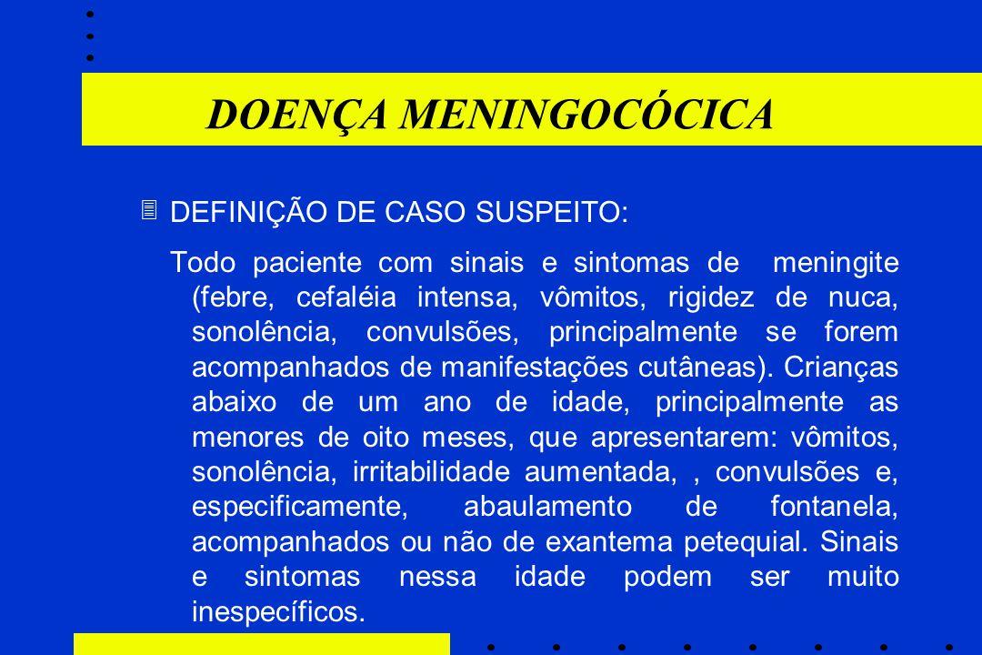 DOENÇA MENINGOCÓCICA DEFINIÇÃO DE CASO SUSPEITO: