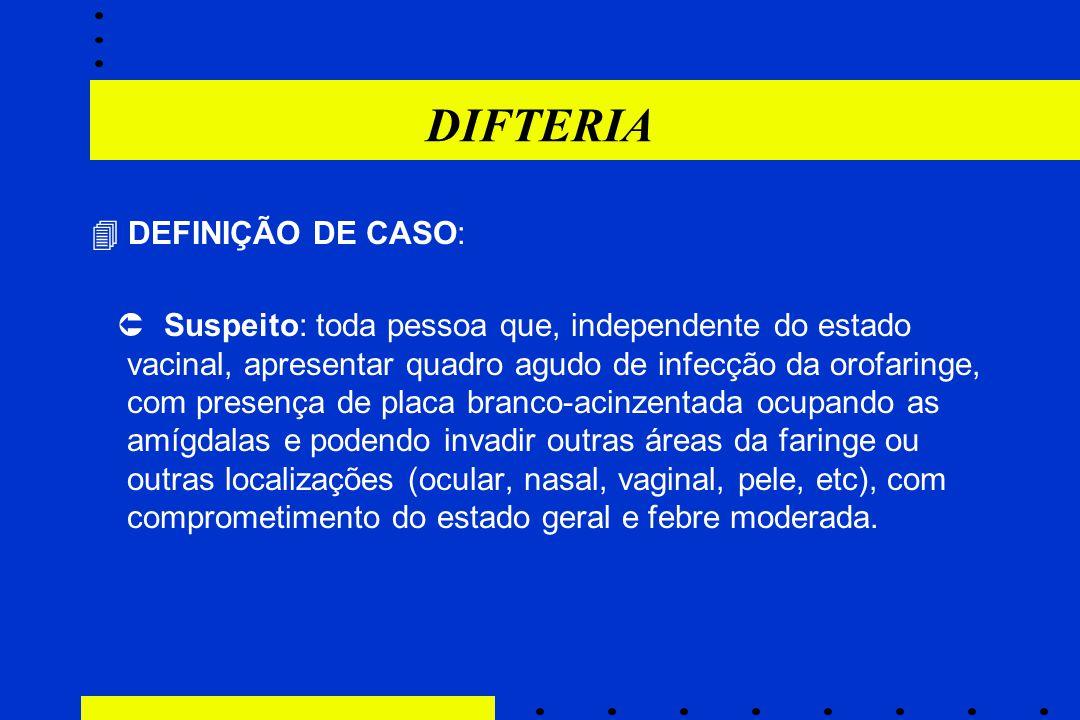 DIFTERIA  DEFINIÇÃO DE CASO: