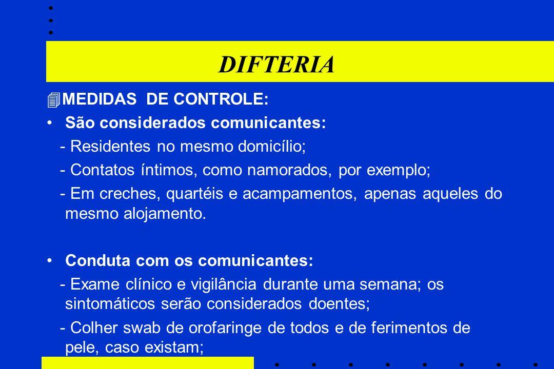 DIFTERIA MEDIDAS DE CONTROLE: São considerados comunicantes:
