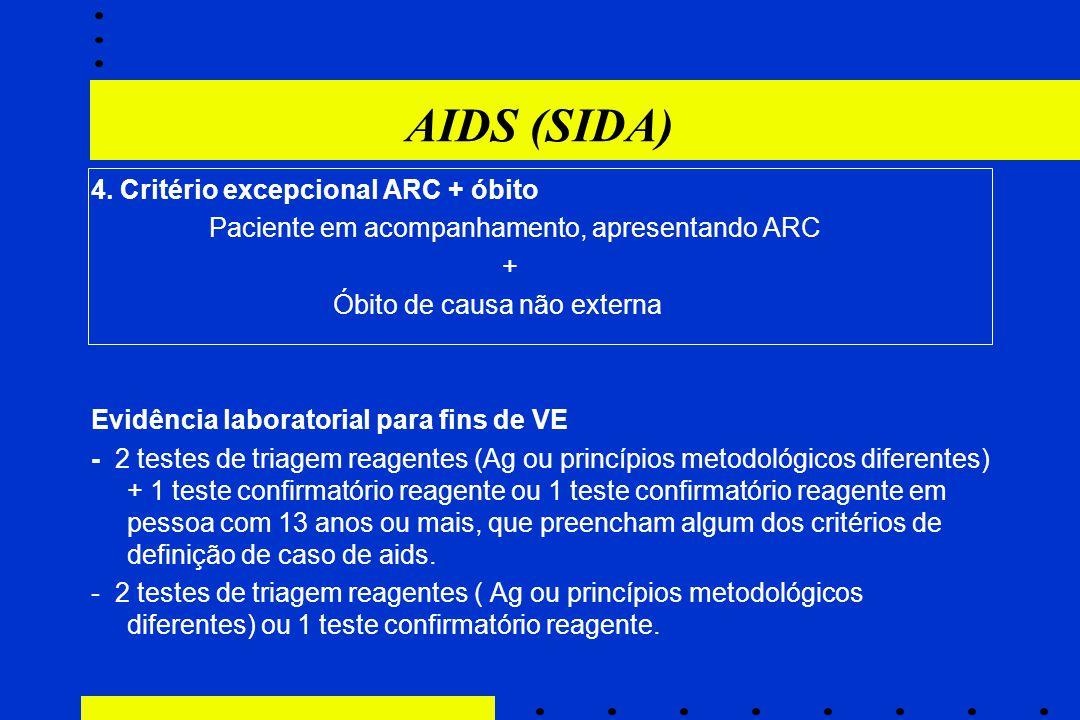 AIDS (SIDA) 4. Critério excepcional ARC + óbito