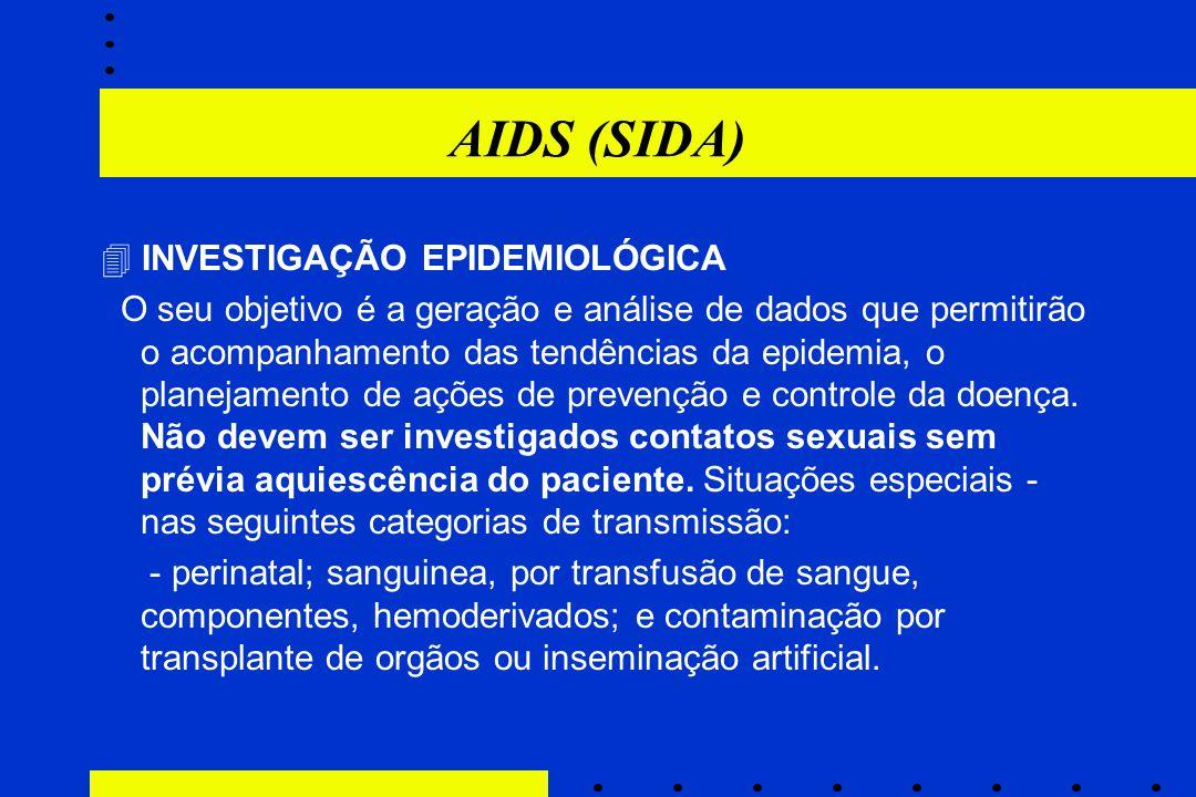 AIDS (SIDA)  INVESTIGAÇÃO EPIDEMIOLÓGICA