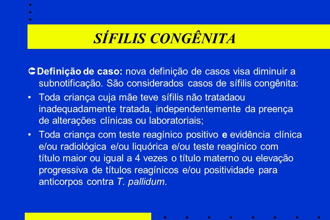SÍFILIS CONGÊNITA Definição de caso: nova definição de casos visa diminuir a subnotificação. São considerados casos de sífilis congênita: