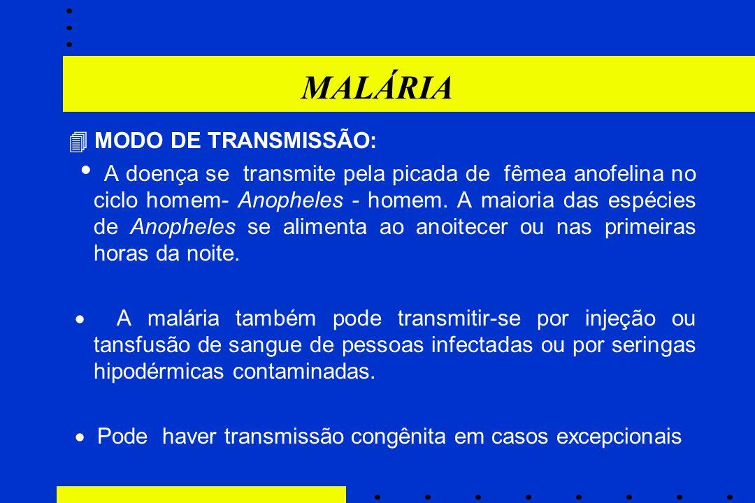 MALÁRIA  MODO DE TRANSMISSÃO: