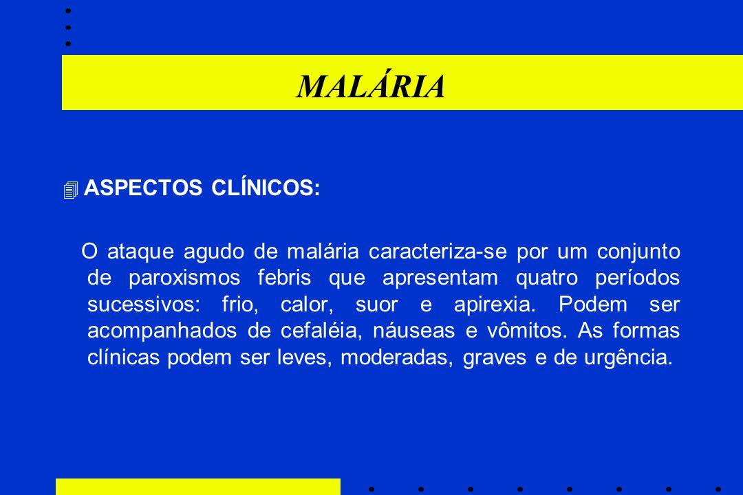 MALÁRIA  ASPECTOS CLÍNICOS: