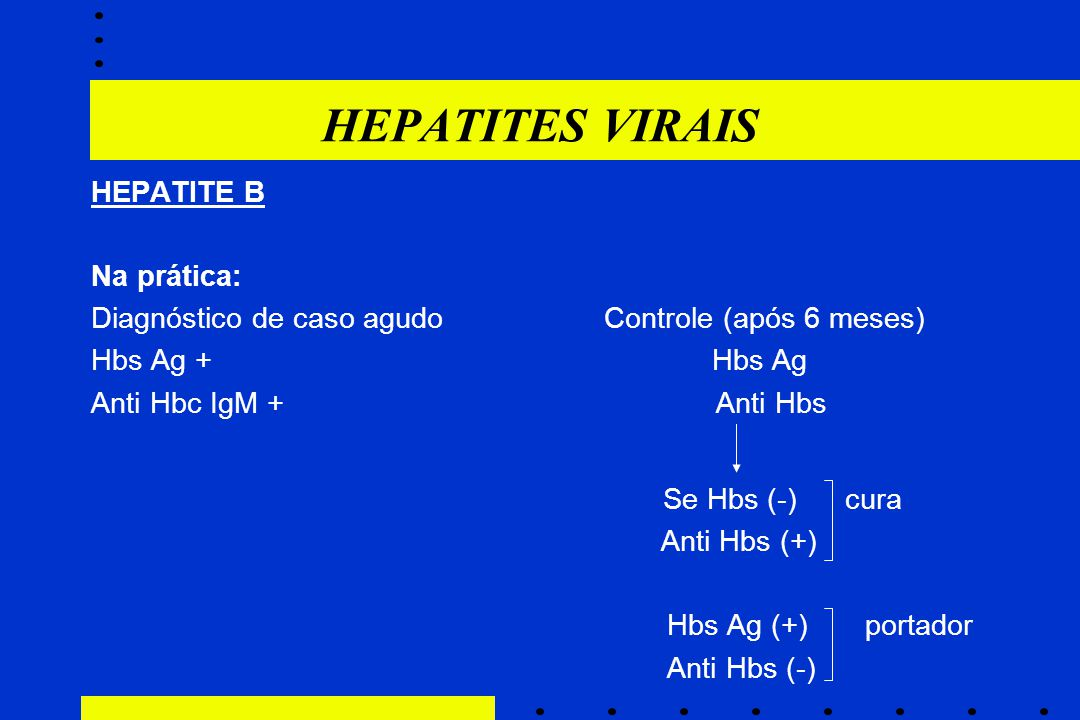 HEPATITES VIRAIS HEPATITE B Na prática: