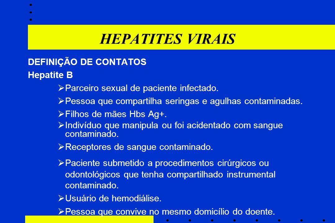 HEPATITES VIRAIS DEFINIÇÃO DE CONTATOS Hepatite B
