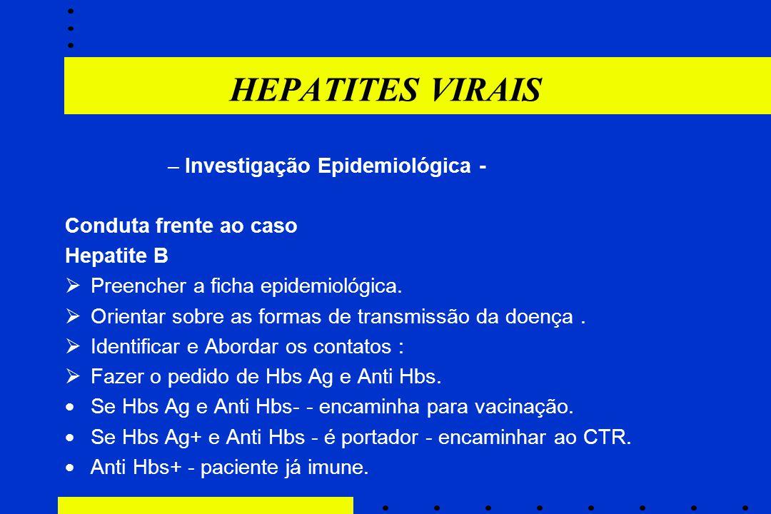 HEPATITES VIRAIS Investigação Epidemiológica - Conduta frente ao caso
