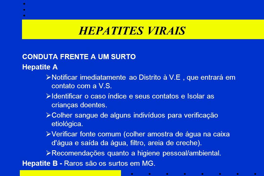 HEPATITES VIRAIS CONDUTA FRENTE A UM SURTO Hepatite A