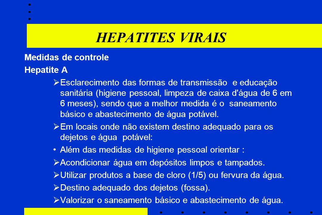 HEPATITES VIRAIS Medidas de controle Hepatite A