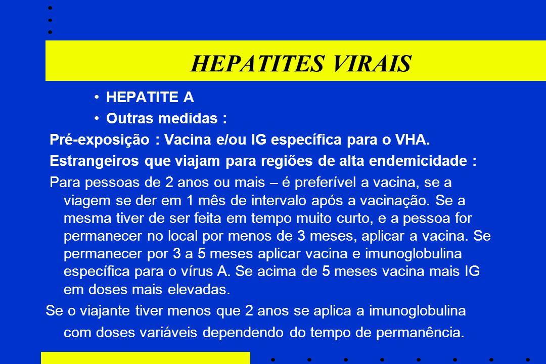 HEPATITES VIRAIS HEPATITE A Outras medidas :