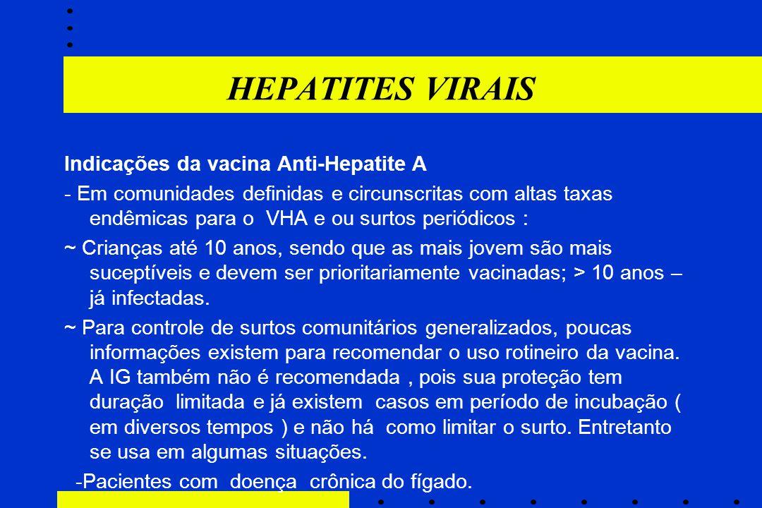 HEPATITES VIRAIS Indicações da vacina Anti-Hepatite A