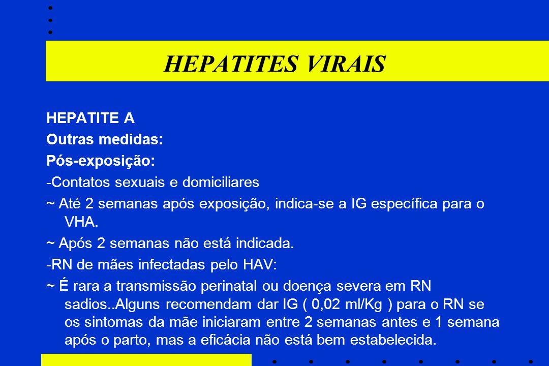 HEPATITES VIRAIS HEPATITE A Outras medidas: Pós-exposição: