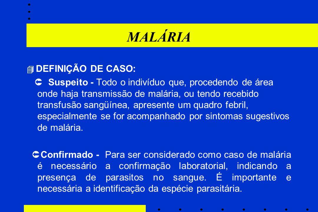 MALÁRIA  DEFINIÇÃO DE CASO:
