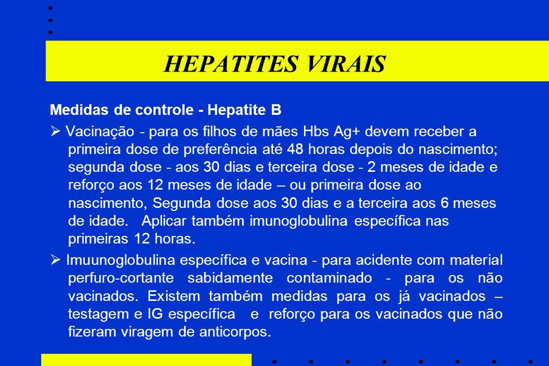 HEPATITES VIRAIS Medidas de controle - Hepatite B