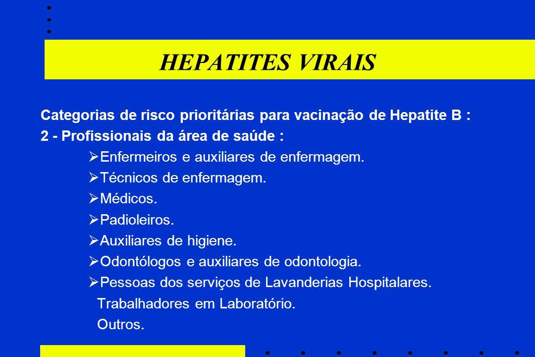 HEPATITES VIRAIS Categorias de risco prioritárias para vacinação de Hepatite B : 2 - Profissionais da área de saúde :