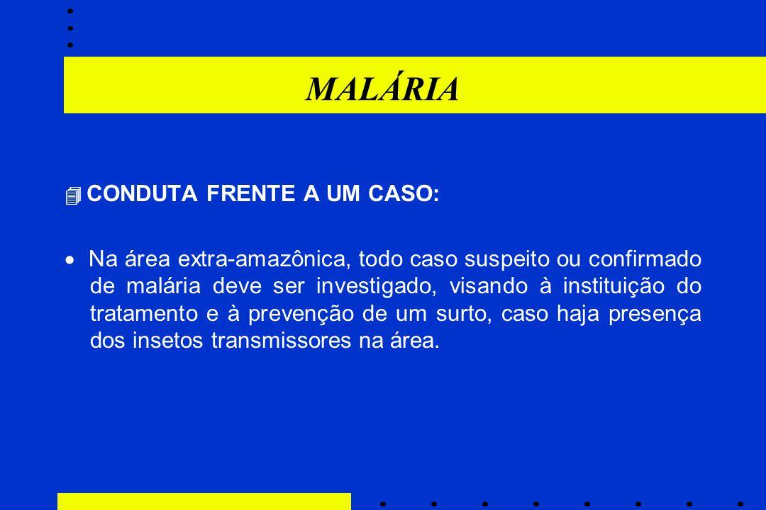 MALÁRIA  CONDUTA FRENTE A UM CASO: