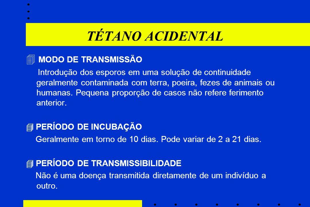 TÉTANO ACIDENTAL  MODO DE TRANSMISSÃO