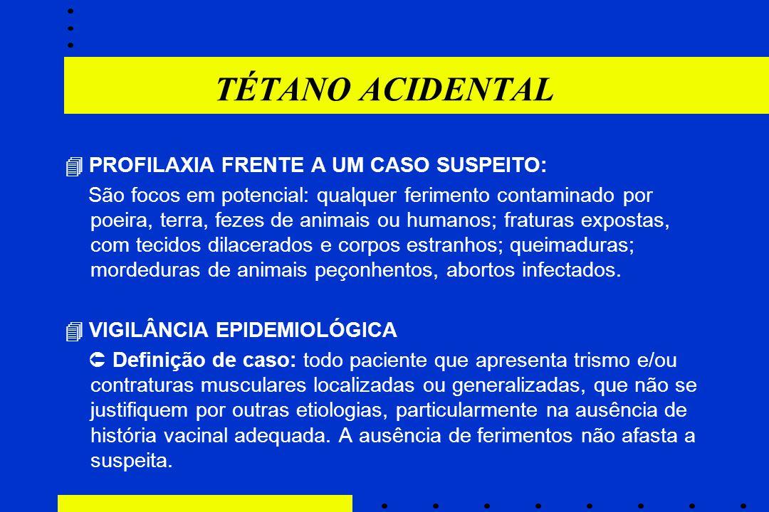 TÉTANO ACIDENTAL  PROFILAXIA FRENTE A UM CASO SUSPEITO:
