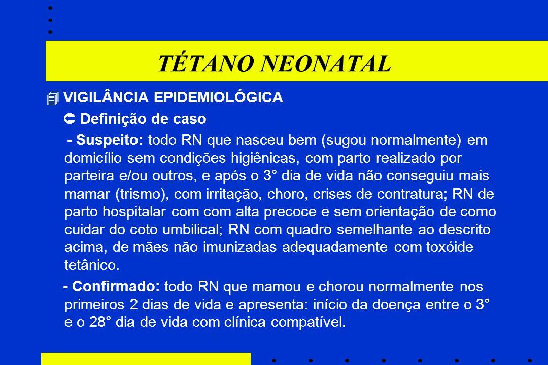 TÉTANO NEONATAL  VIGILÂNCIA EPIDEMIOLÓGICA  Definição de caso