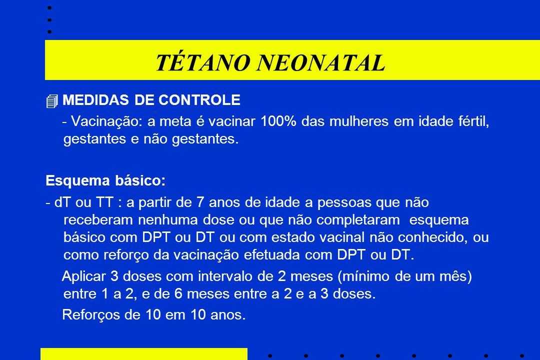 TÉTANO NEONATAL  MEDIDAS DE CONTROLE
