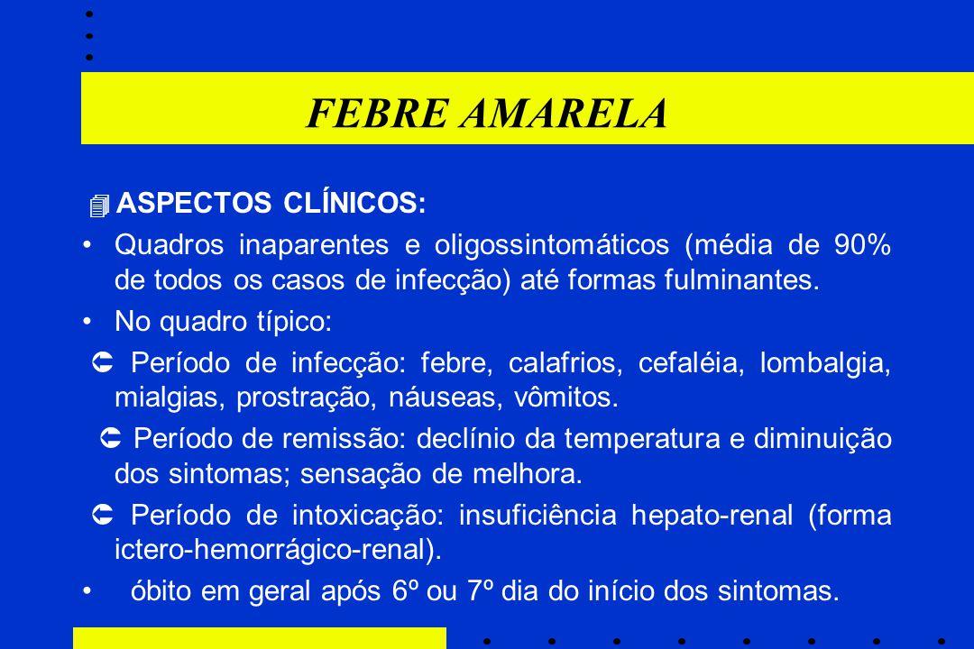 FEBRE AMARELA  ASPECTOS CLÍNICOS: Quadros inaparentes e oligossintomáticos (média de 90% de todos os casos de infecção) até formas fulminantes.