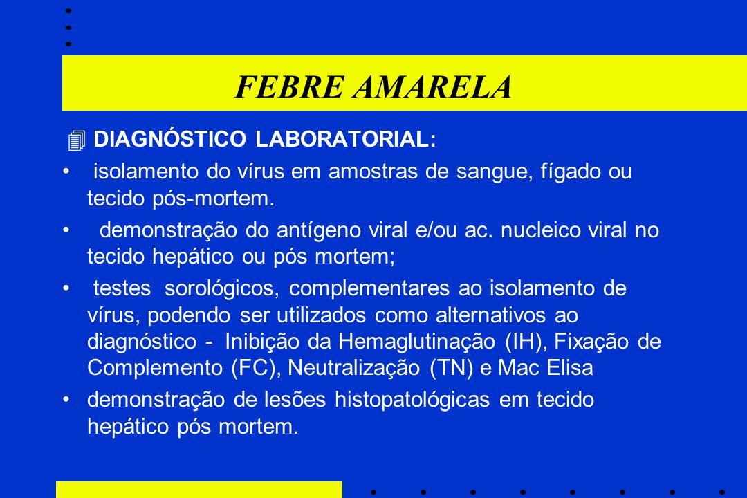 FEBRE AMARELA  DIAGNÓSTICO LABORATORIAL: isolamento do vírus em amostras de sangue, fígado ou tecido pós-mortem.