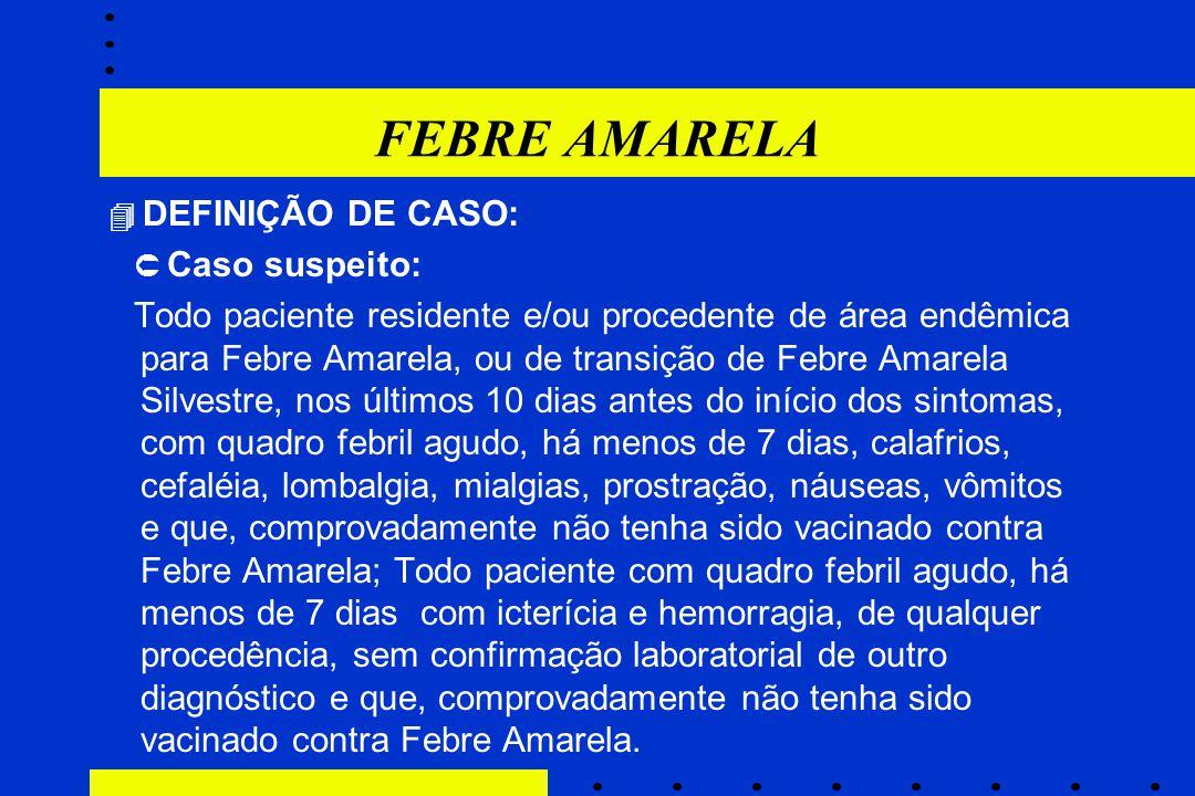 FEBRE AMARELA ,  DEFINIÇÃO DE CASO:  Caso suspeito: