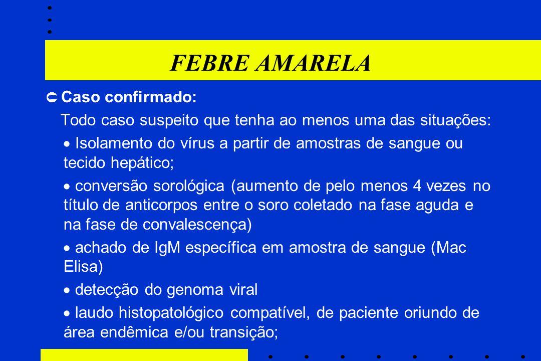 FEBRE AMARELA  Caso confirmado: Todo caso suspeito que tenha ao menos uma das situações: