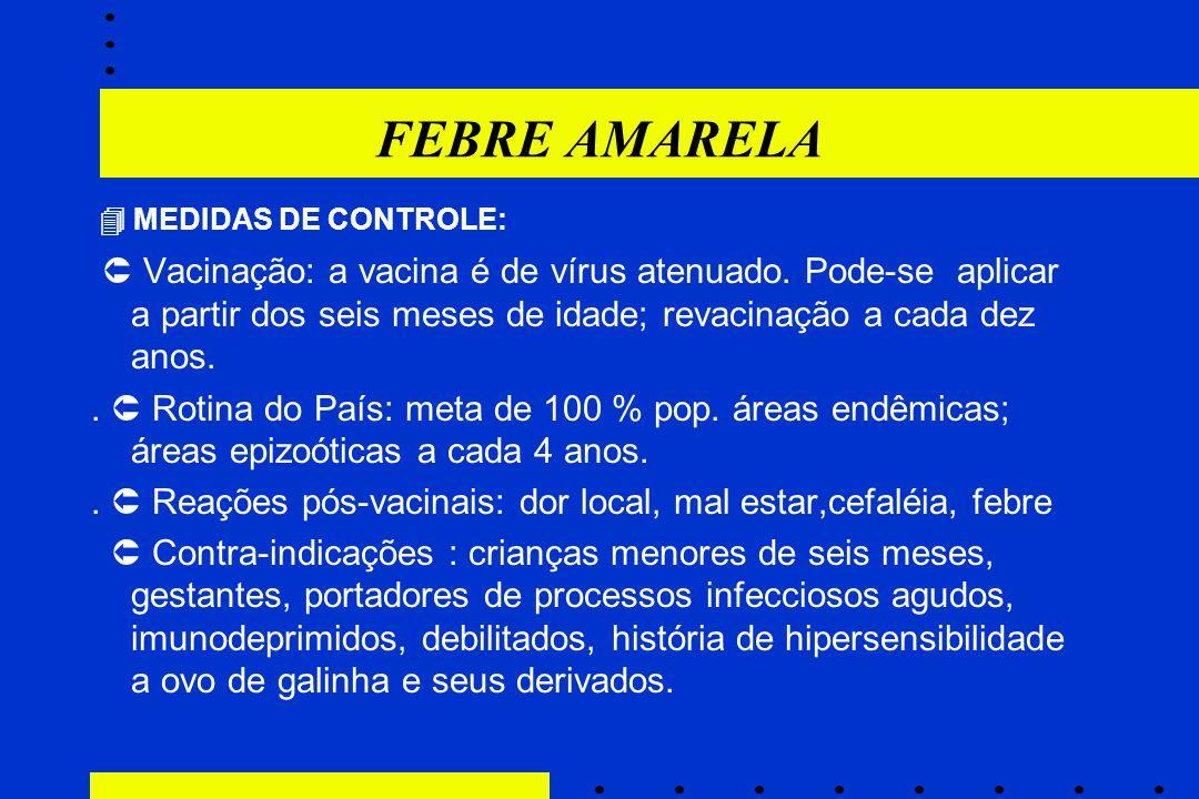 FEBRE AMARELA  MEDIDAS DE CONTROLE: