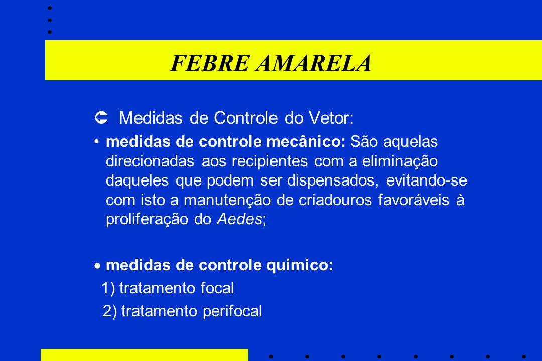 FEBRE AMARELA  Medidas de Controle do Vetor: