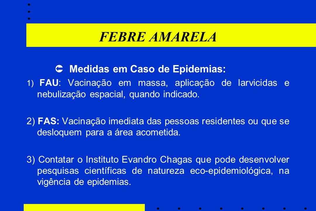 FEBRE AMARELA  Medidas em Caso de Epidemias:
