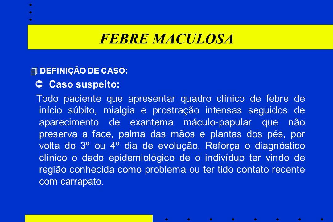 FEBRE MACULOSA  DEFINIÇÃO DE CASO:  Caso suspeito: