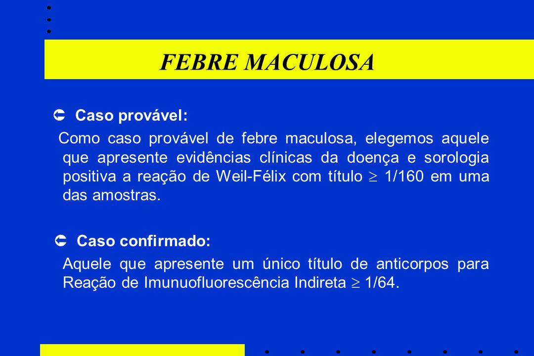 FEBRE MACULOSA  Caso provável: