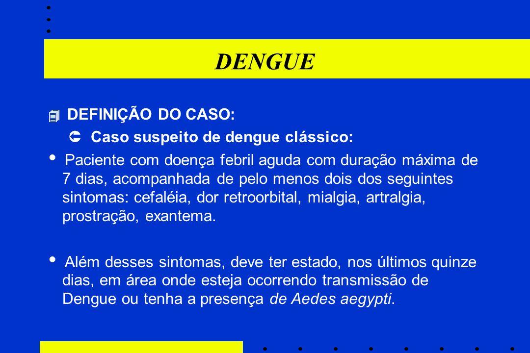 DENGUE  Caso suspeito de dengue clássico: