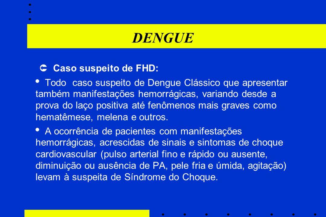 DENGUE  Caso suspeito de FHD: