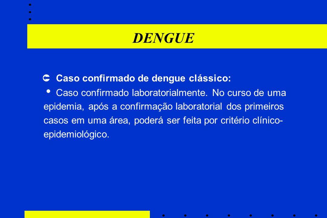 DENGUE  Caso confirmado de dengue clássico:
