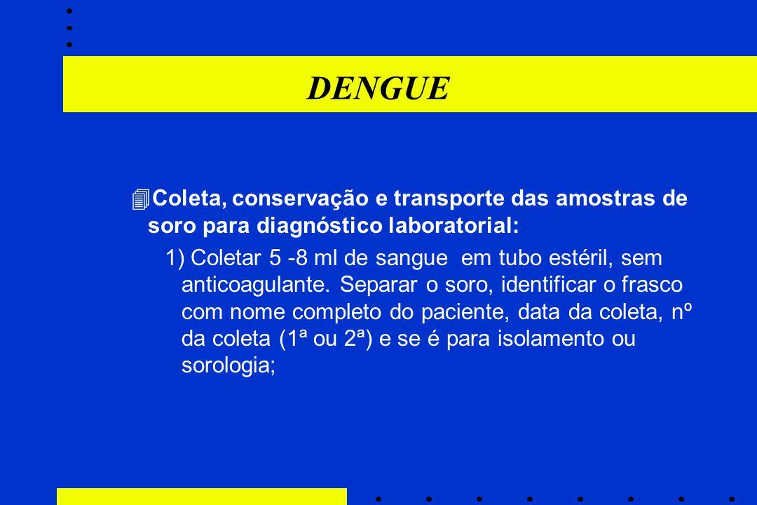 DENGUE Coleta, conservação e transporte das amostras de soro para diagnóstico laboratorial: