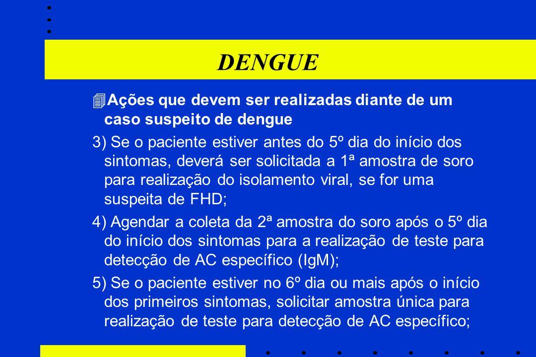 DENGUE Ações que devem ser realizadas diante de um caso suspeito de dengue.