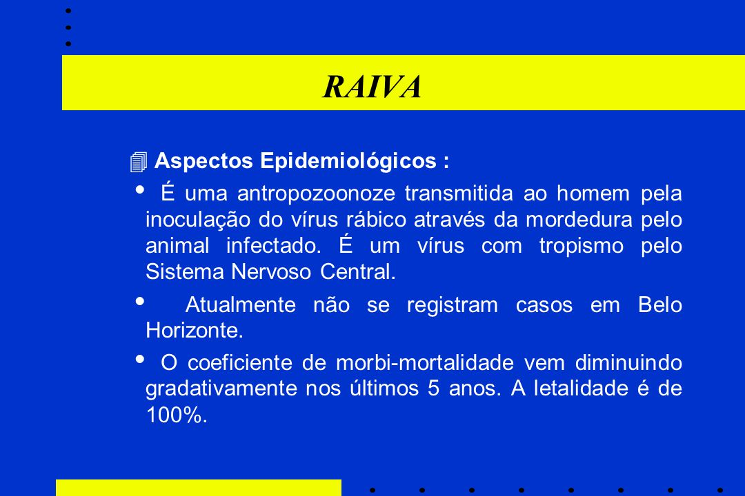 RAIVA  Aspectos Epidemiológicos :
