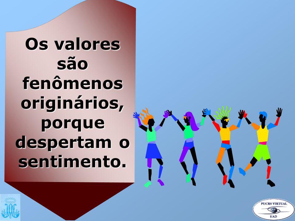 Os valores são fenômenos despertam o sentimento.