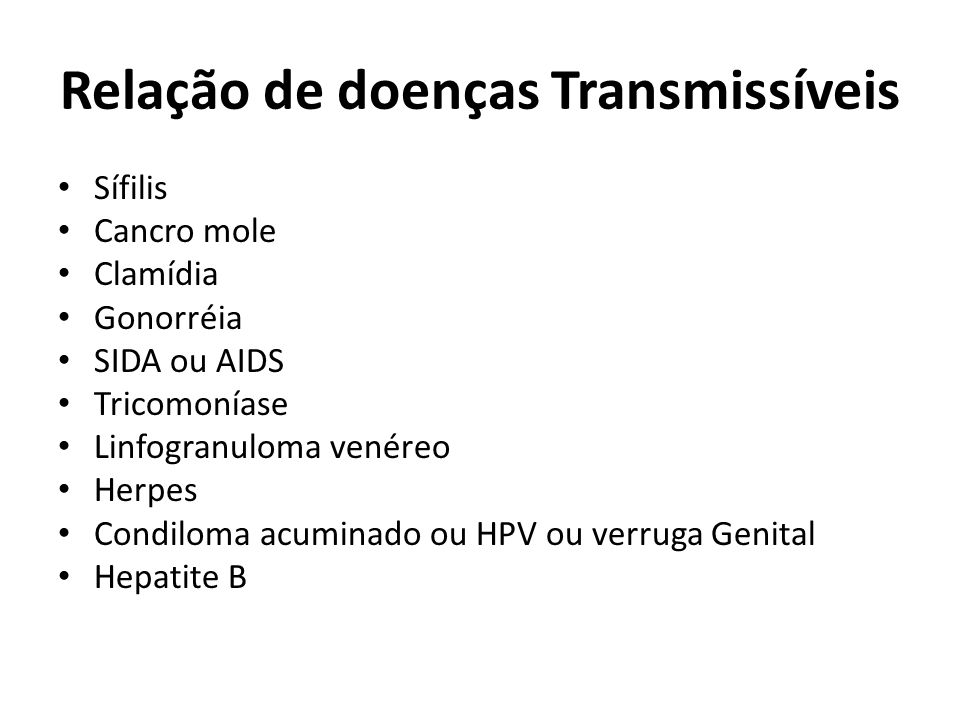 Relação de doenças Transmissíveis