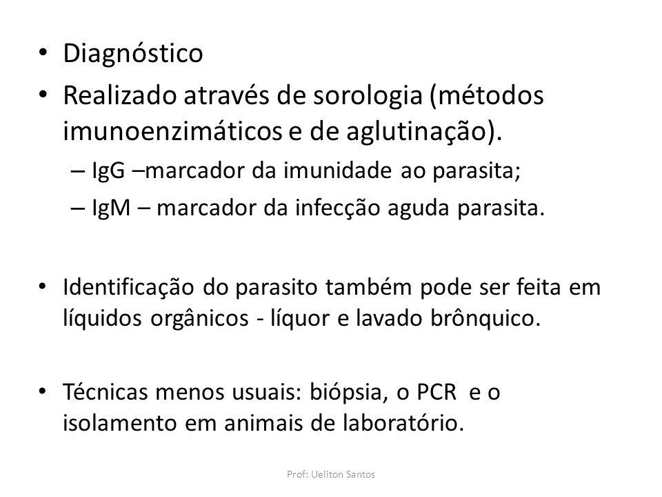 Diagnóstico Realizado através de sorologia (métodos imunoenzimáticos e de aglutinação). IgG –marcador da imunidade ao parasita;