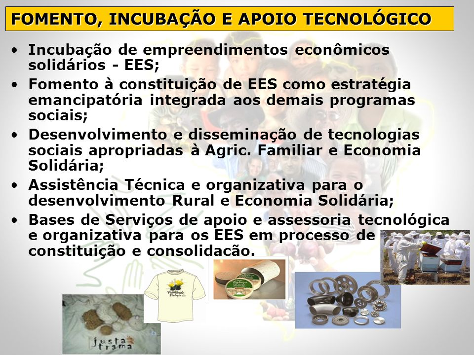 FOMENTO, INCUBAÇÃO E APOIO TECNOLÓGICO