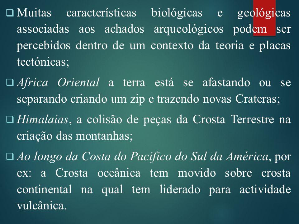Muitas características biológicas e geológicas associadas aos achados arqueológicos podem ser percebidos dentro de um contexto da teoria e placas tectónicas;
