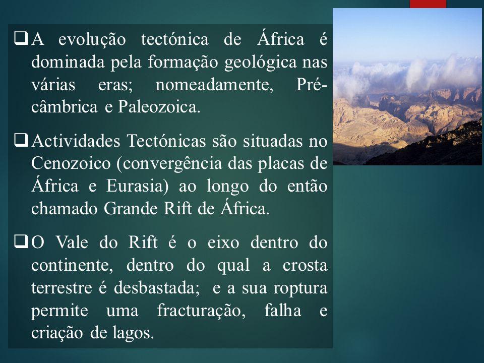 A evolução tectónica de África é dominada pela formação geológica nas várias eras; nomeadamente, Pré-câmbrica e Paleozoica.