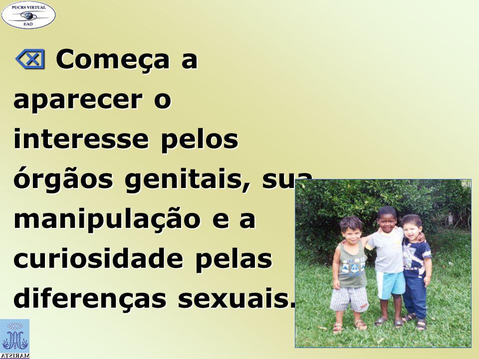  Começa a aparecer o interesse pelos órgãos genitais, sua manipulação e a curiosidade pelas diferenças sexuais.
