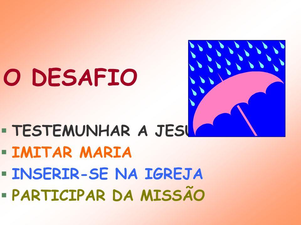 O DESAFIO TESTEMUNHAR A JESUS IMITAR MARIA INSERIR-SE NA IGREJA