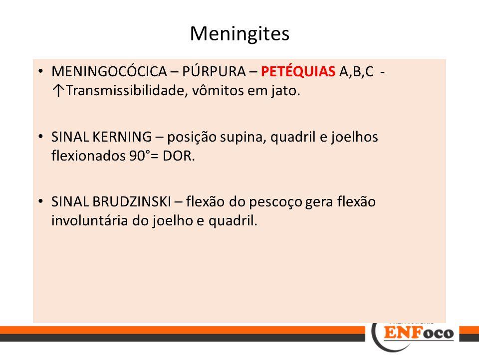 Meningites MENINGOCÓCICA – PÚRPURA – PETÉQUIAS A,B,C - ↑Transmissibilidade, vômitos em jato.